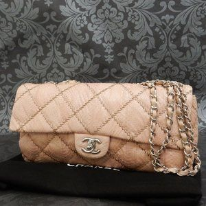 Chanel Stitched Beige Python Flap Bag